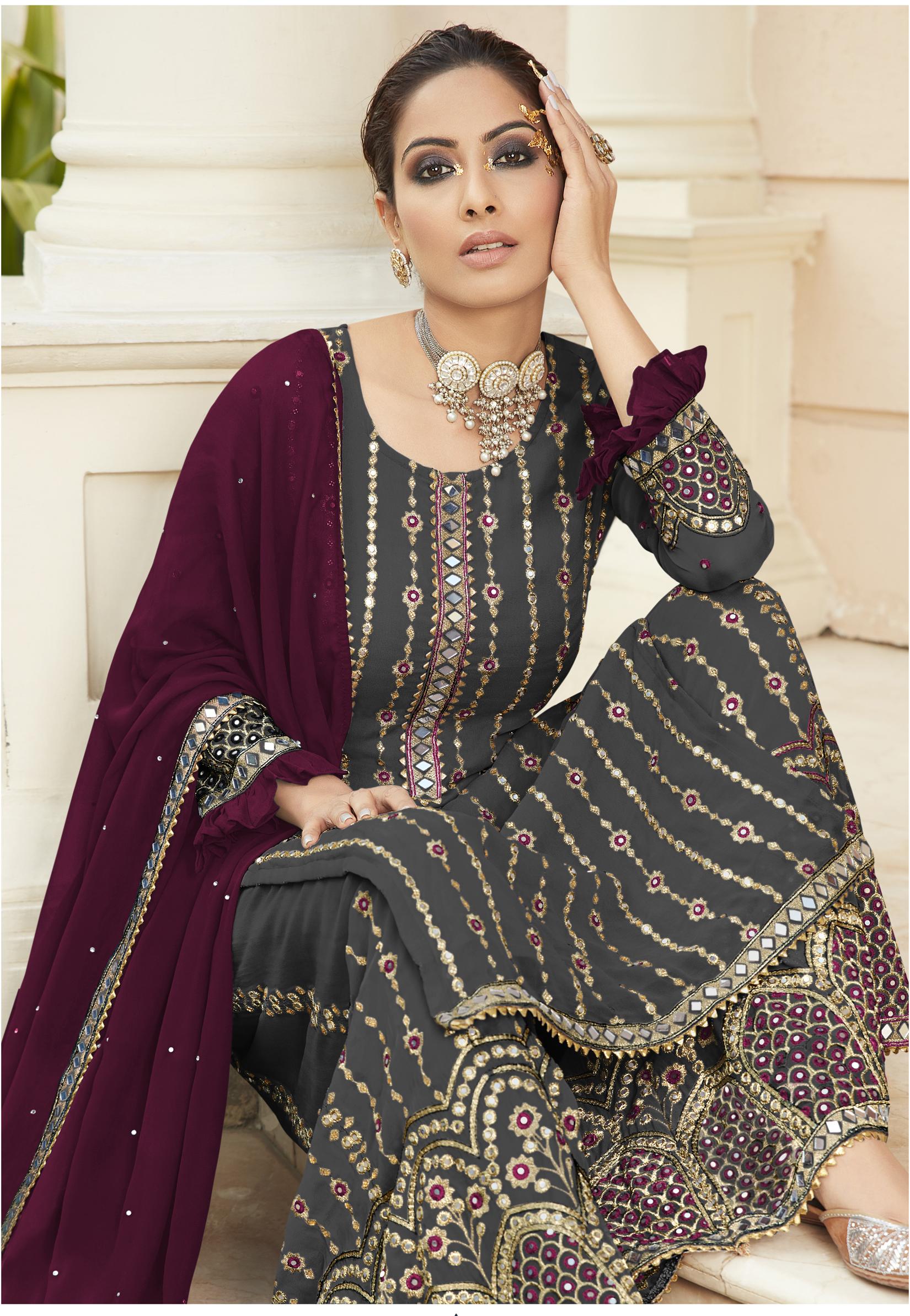 Latest Designer Mirror Work Wedding Punjabi Suits Salwar