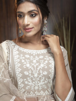 Latest Salwar Suits Design Off White Colour