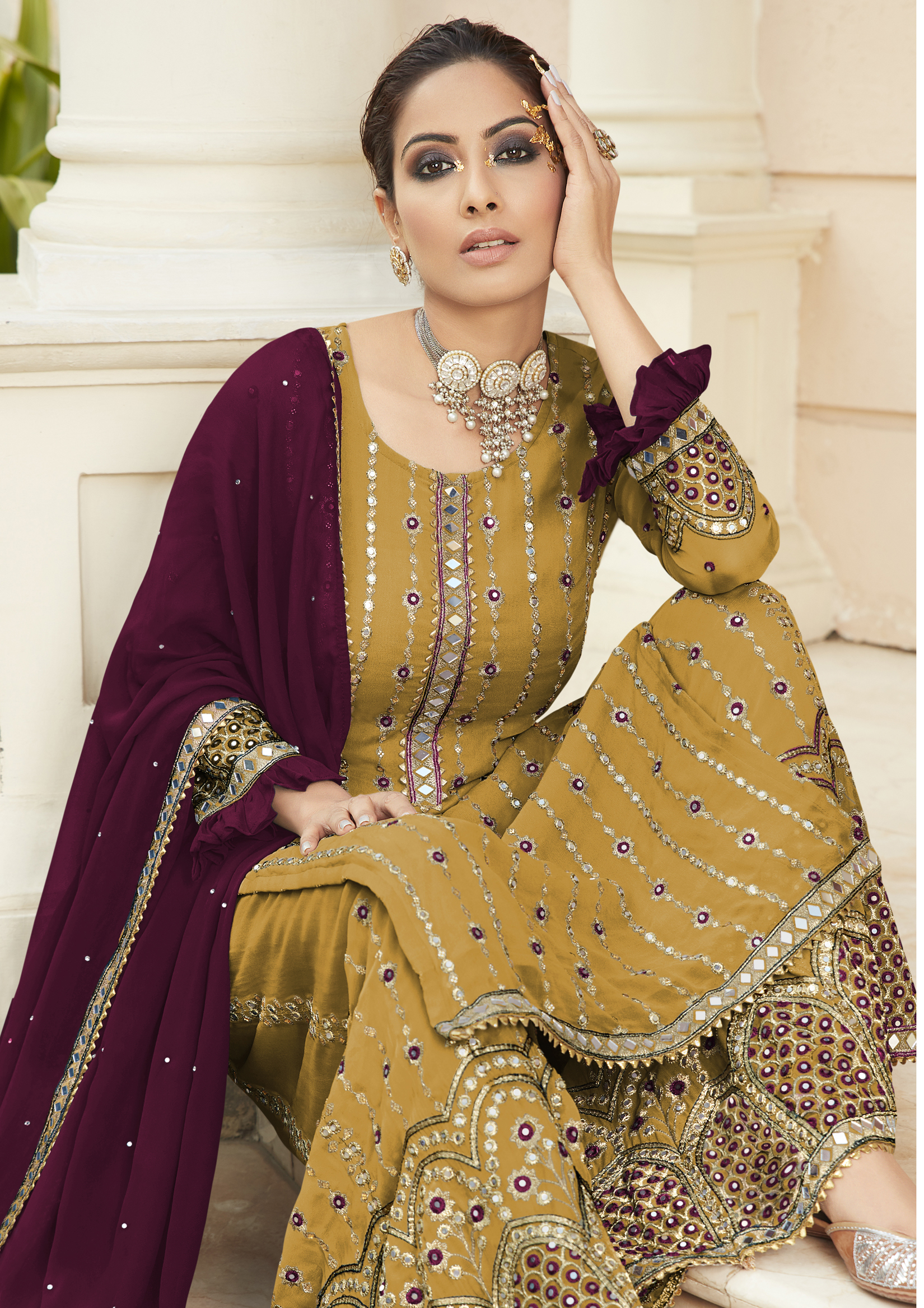 Latest Yellow Colour Sharara Suit Party Wear