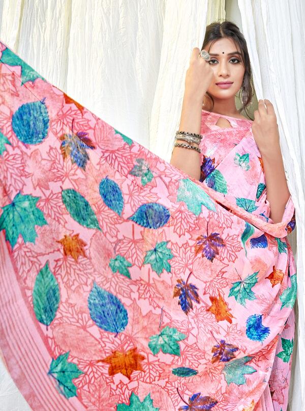 Pink Colour Floral Linen Saree Online