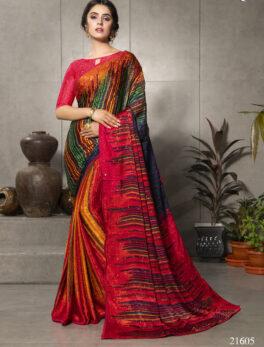 New Digital Print Saree Satin Silk Multi Colour