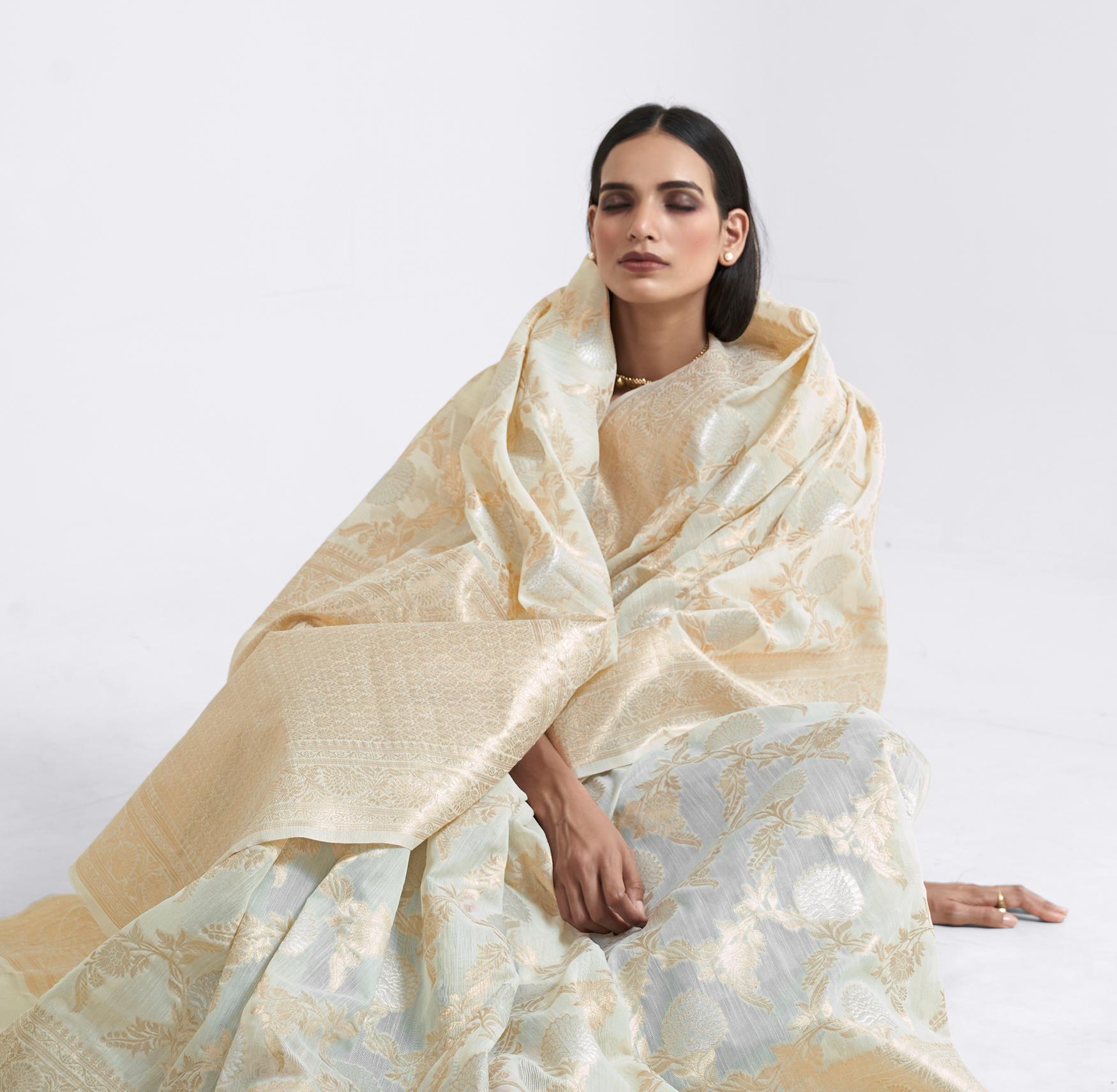 Best Designer Cream Colour Saree Party Wear