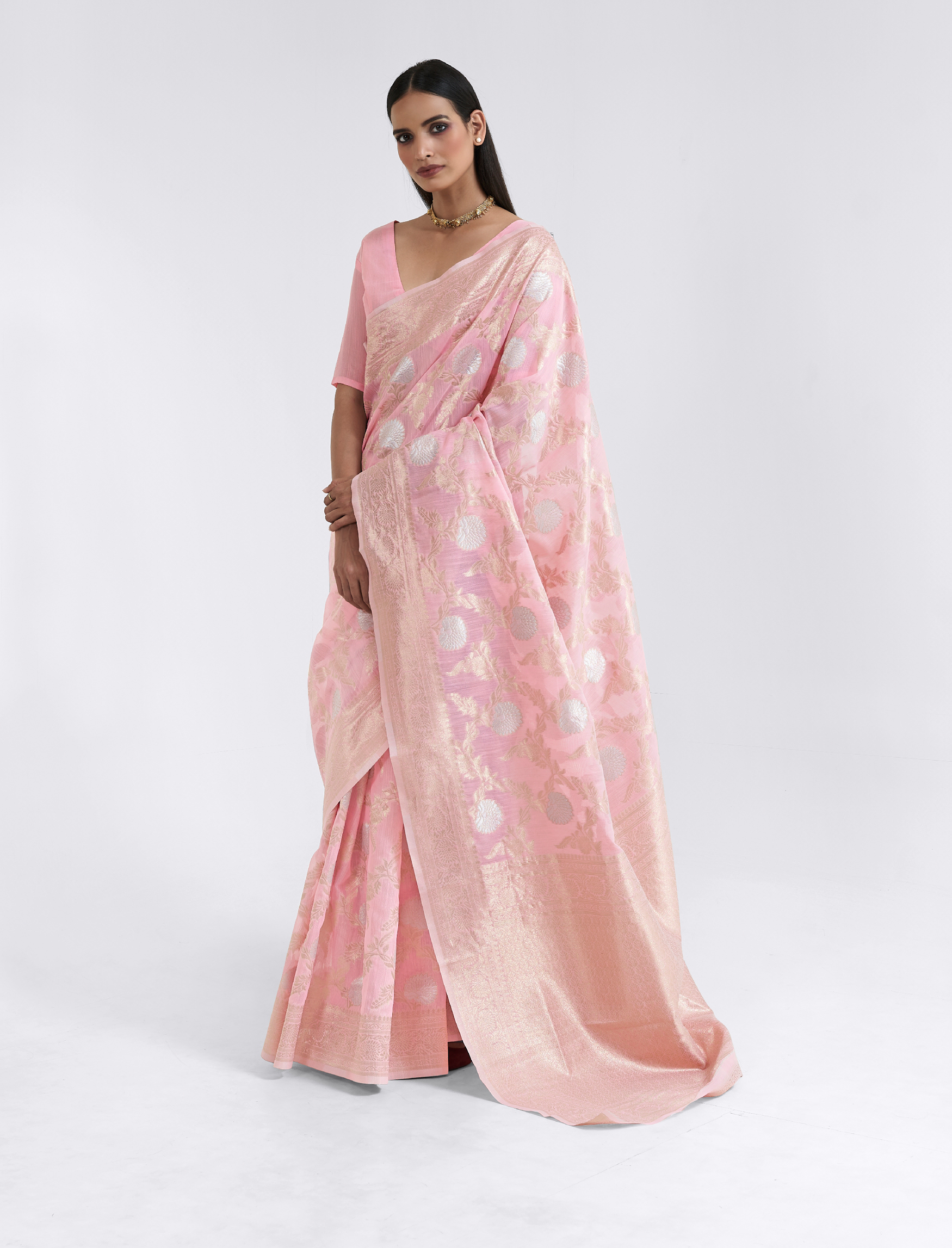 Pink Colour Designer Saree Cotton Silk