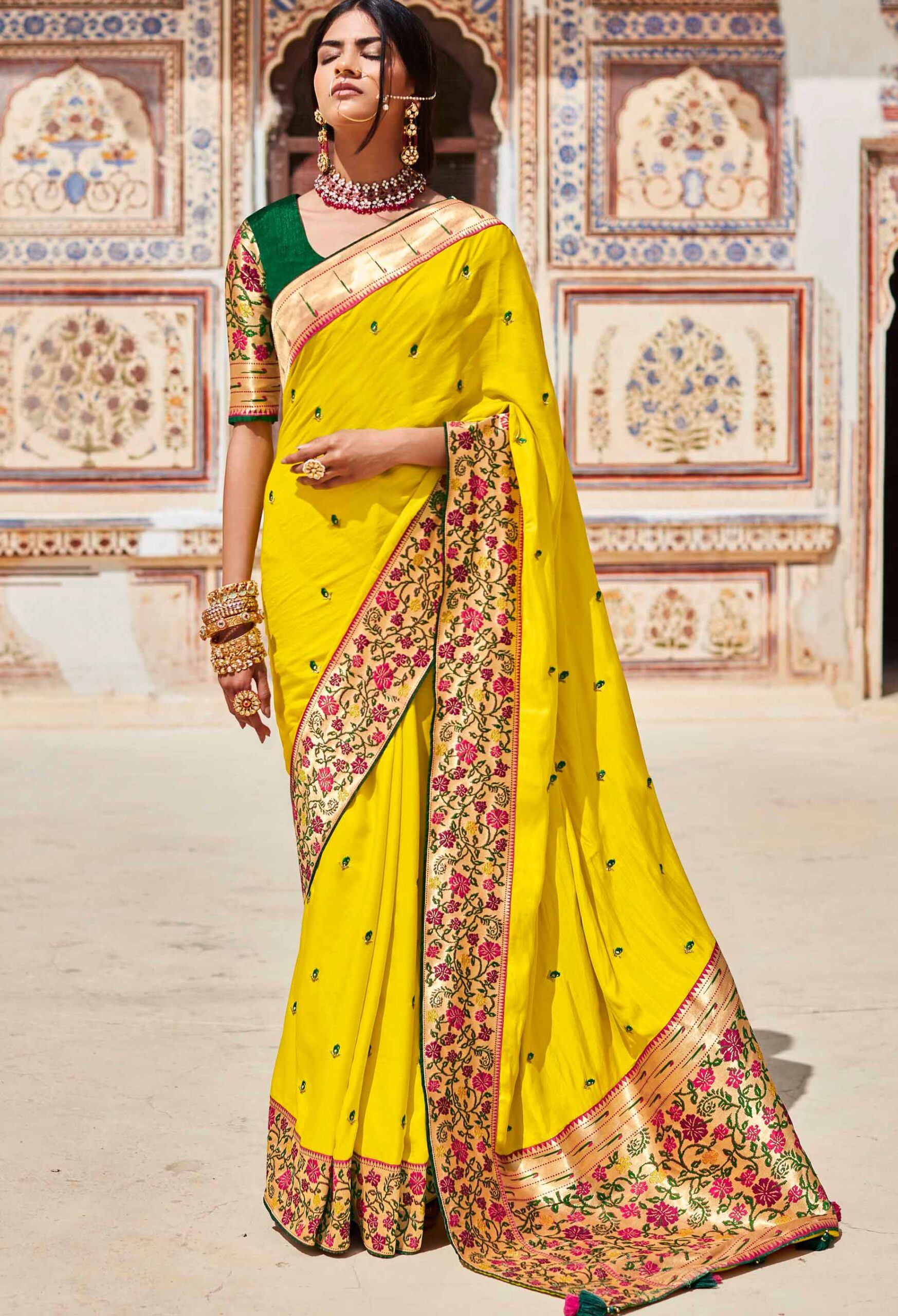Green Contrast Blouse Yellow Colour Party Saree Online