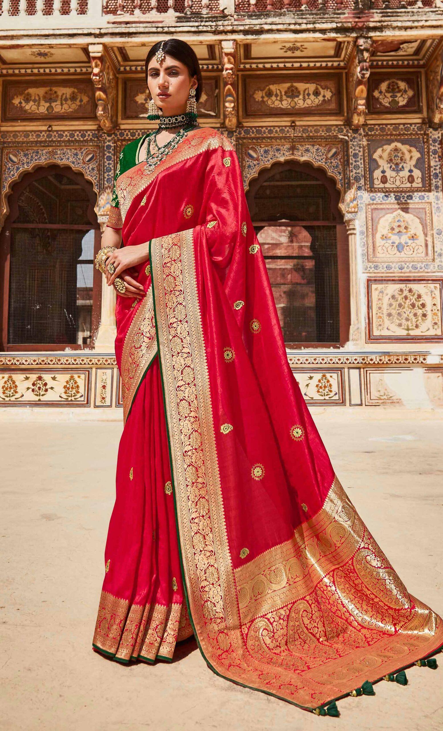 New Party Wear Red Banarasi Saree Design 2021