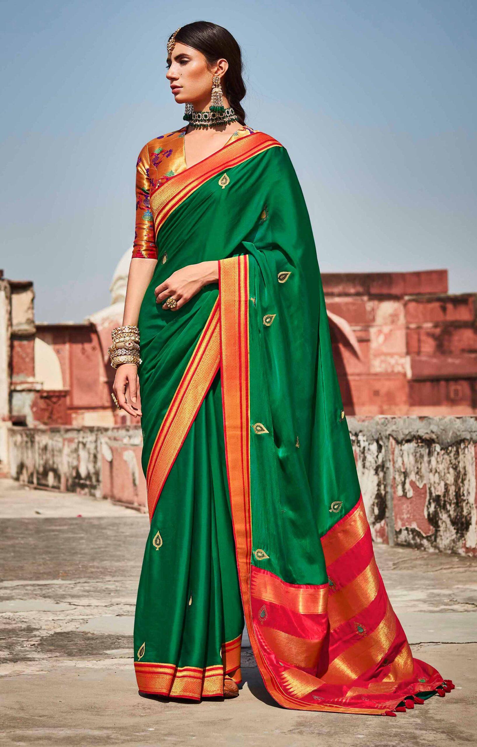 Red Contrast Blouse Green Banarasi Saree