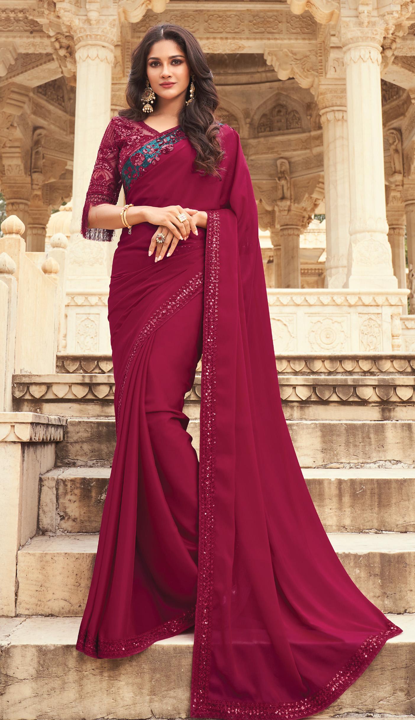 Sequines Work Designer Saree Maroon Colour