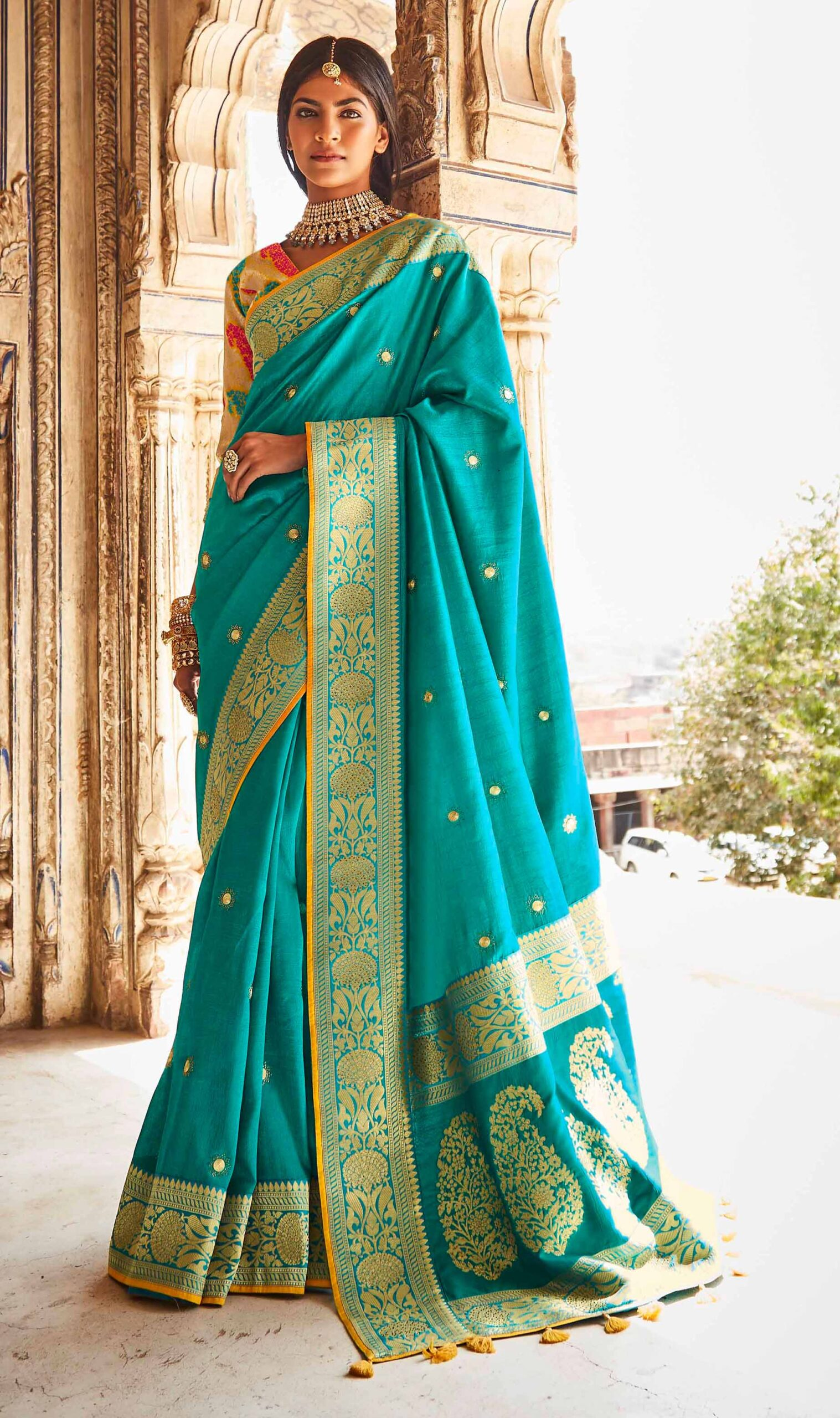 Turquoise Blue Banarasi Silk Saree for Wedding