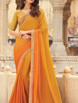 Yellow Colour Heavy Embroidery Desginer Sequins Saree