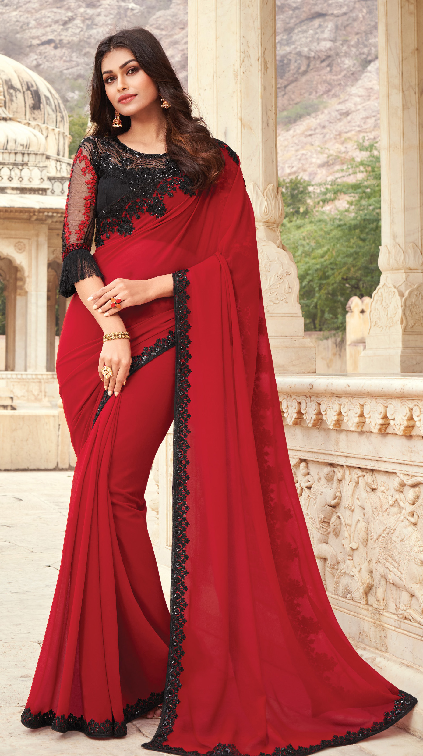 Net Blouse with Designer Saree Red and Black Combination