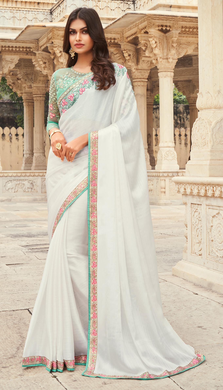 New Designer White Saree for Wedding