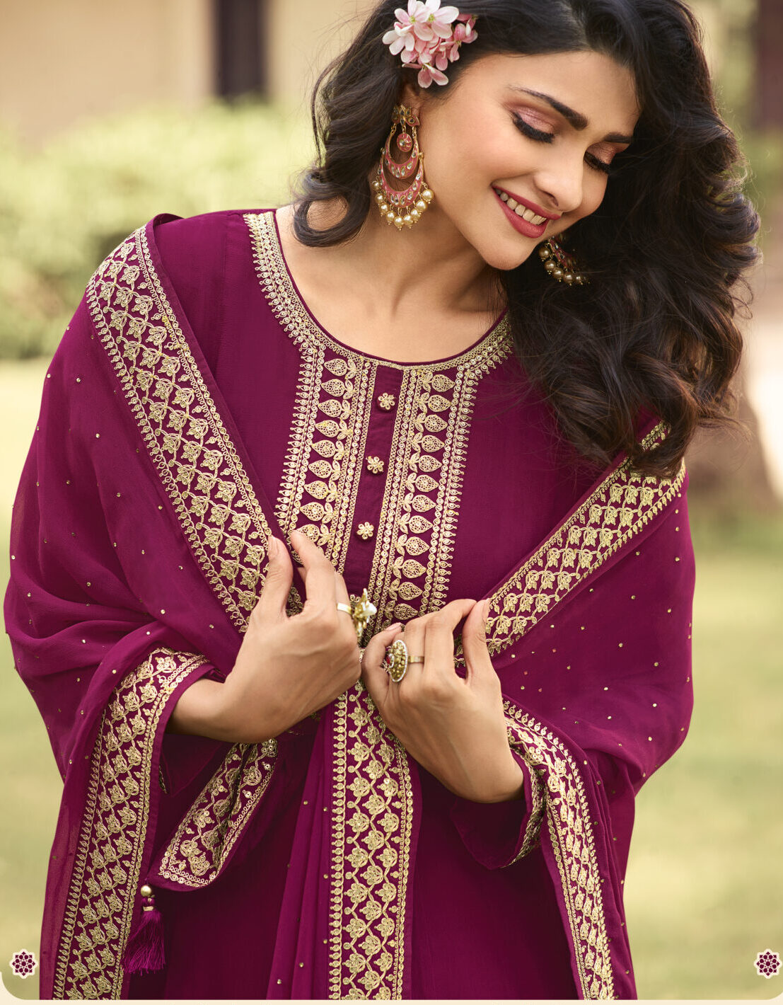Maroon Colour Latest Gown for Wedding Party