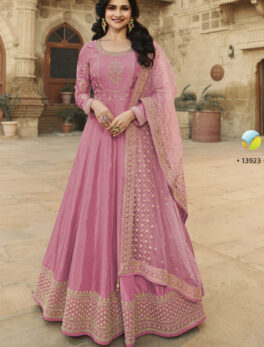 Latest Designer Embroidered Heavy Gown in Pink