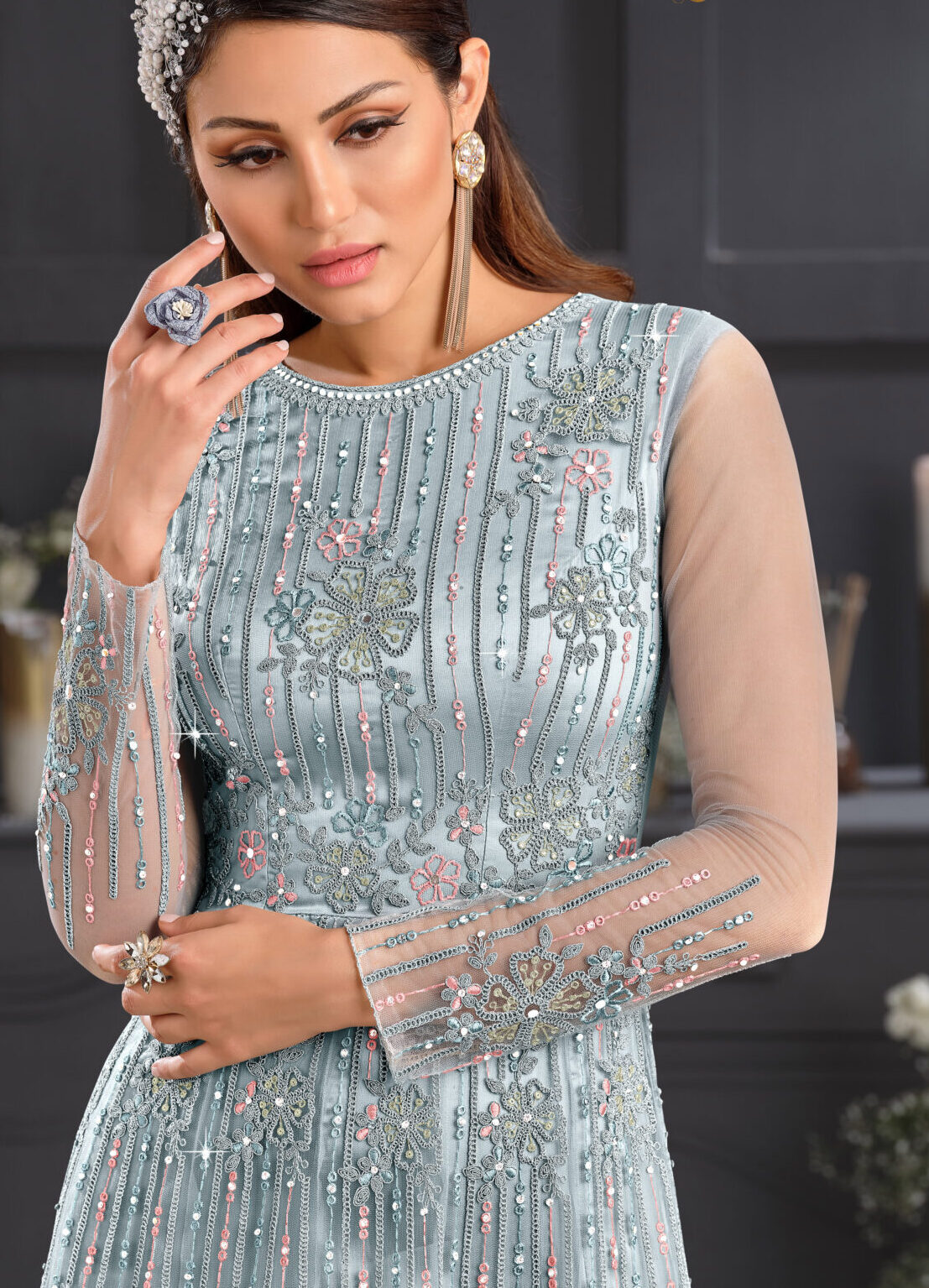 Silver Dresses for Wedding Indian