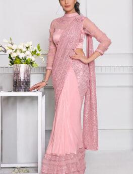 Lycra Designer Saree with Price in Baby Pink