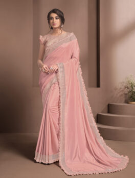 Fancy Pink Saree for Receptions