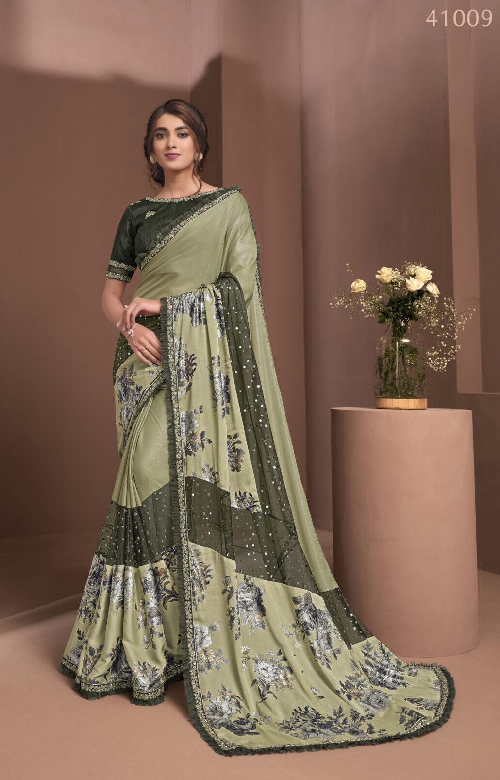 Latest Designer Soft Silk Saree in Olive Green