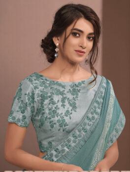 Party Wear Ruffle Teal Green Saree in Silk