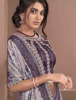 Desigener Party Wear Saree with Price in Plum Color