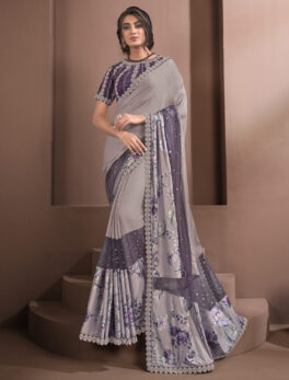 Ruffle Silk Party Wear Saree with Price