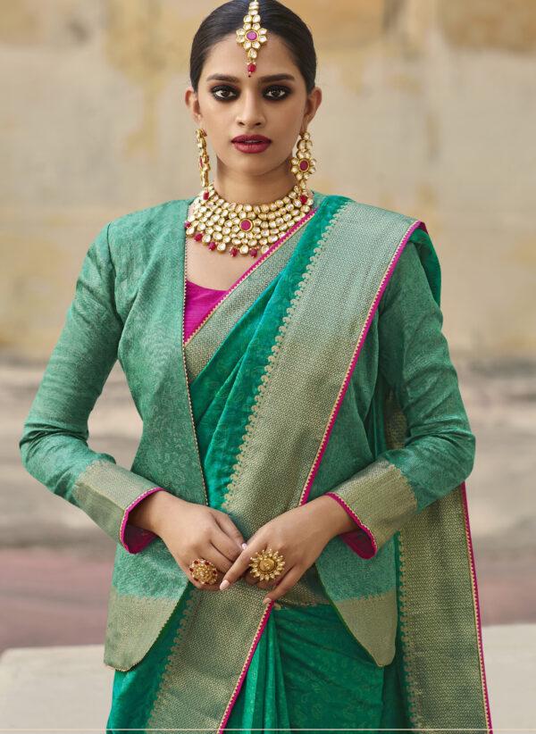Blouse Designs for Border Silk Saree in Green
