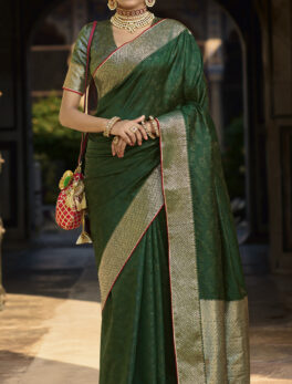 Dark Green Saree in Silk for Wedding