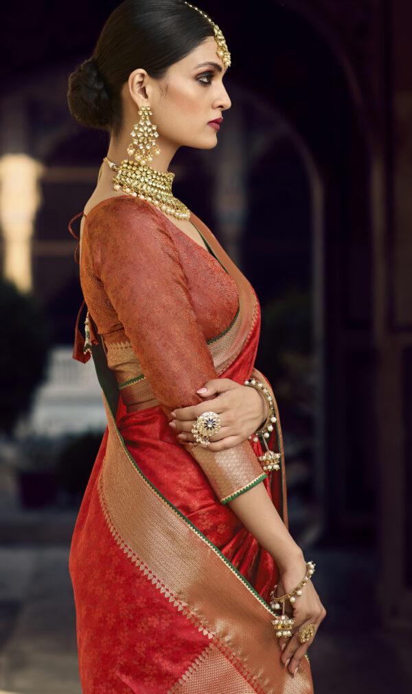 Designer Golden Border Red Silk Saree