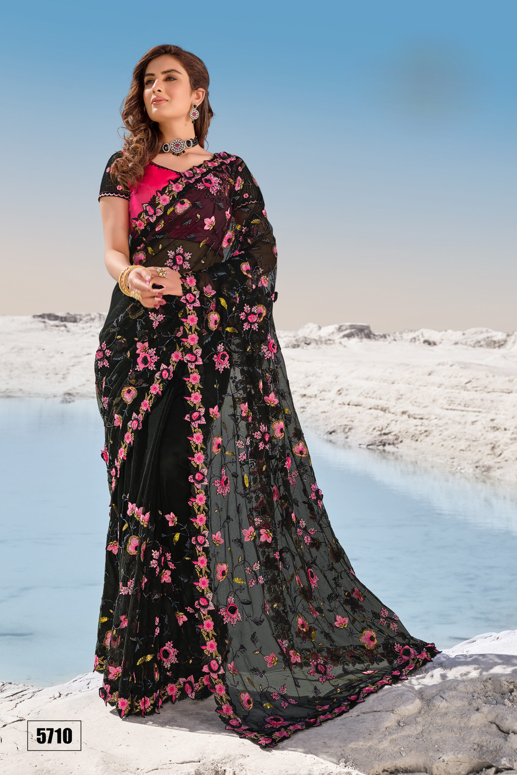 Fancy Saree Online Shopping in Black and Magenta Combination