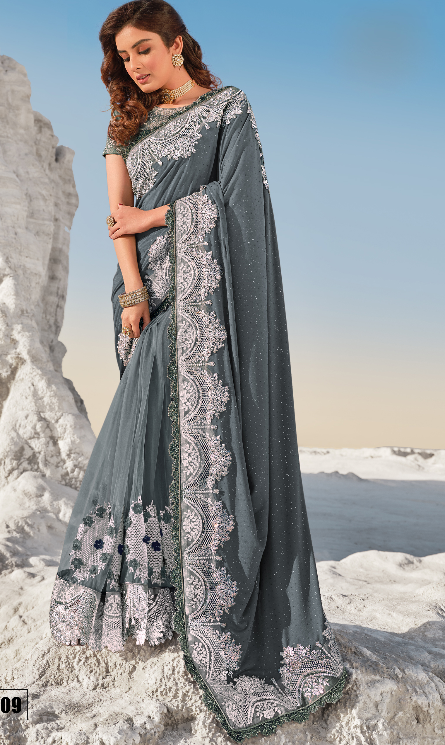 Grey Colour Fancy Saree New for Wedding Party
