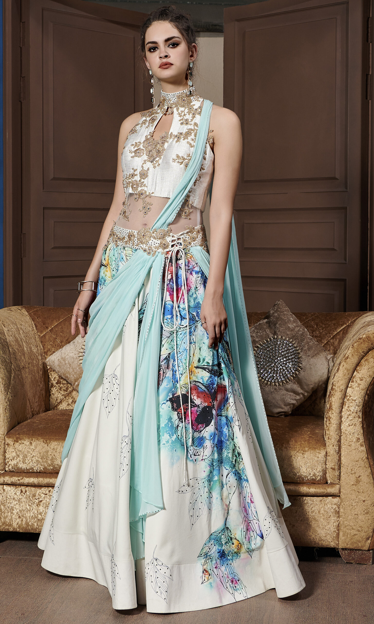 Latest Best Floral Lehenga Skyblue with Off White Combination
