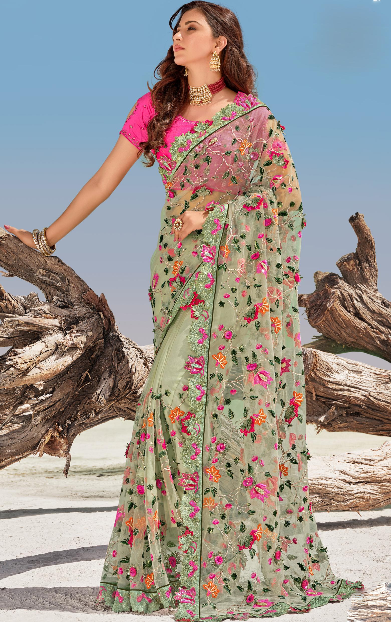 Latest Bridal Net Saree Price 2021