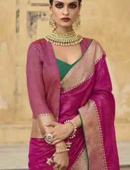 Latest Desigenr Magenta Silk Saree with Jacket