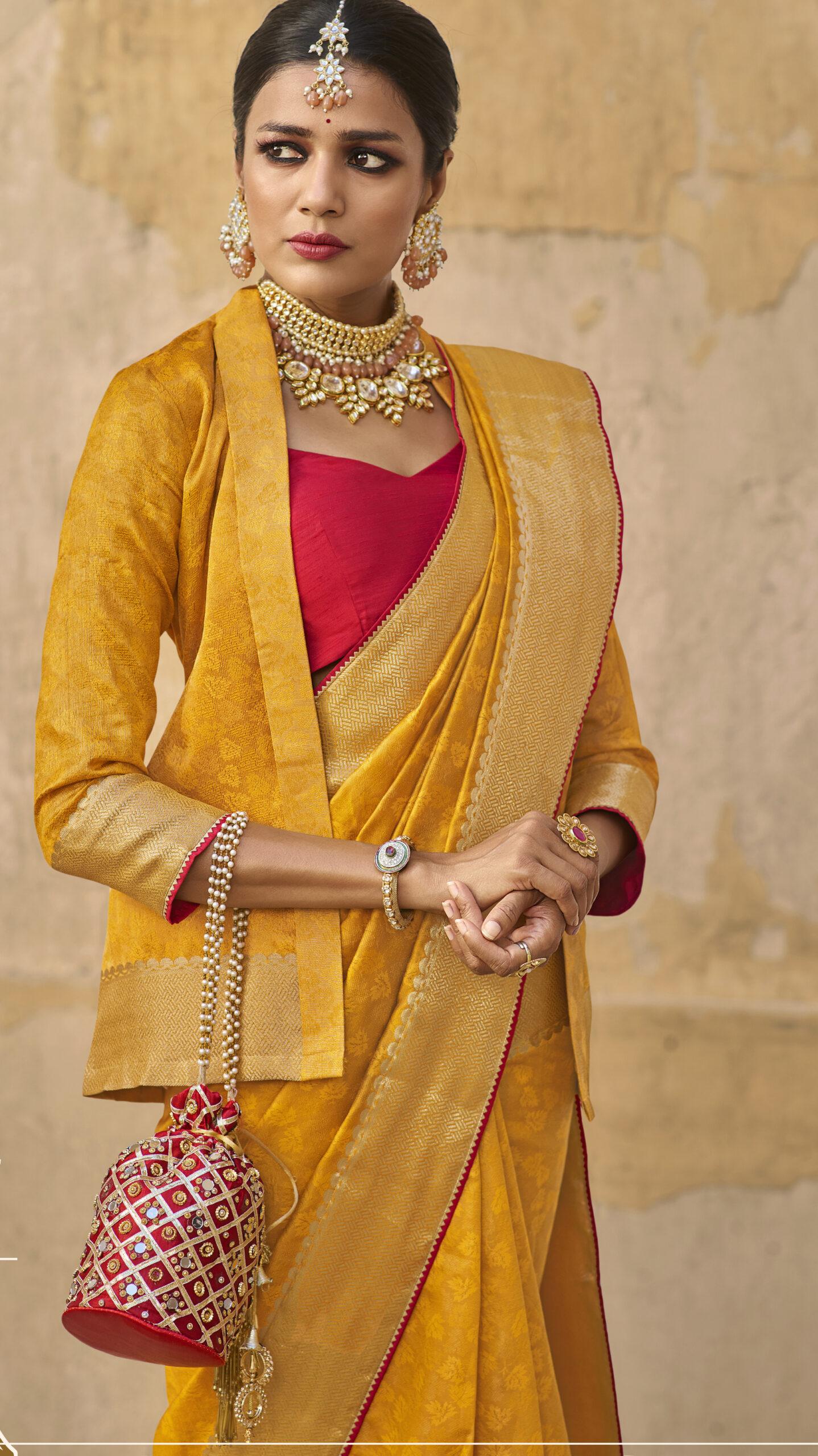 Latest Designer Jacquard Silk Saree in Yellow Color