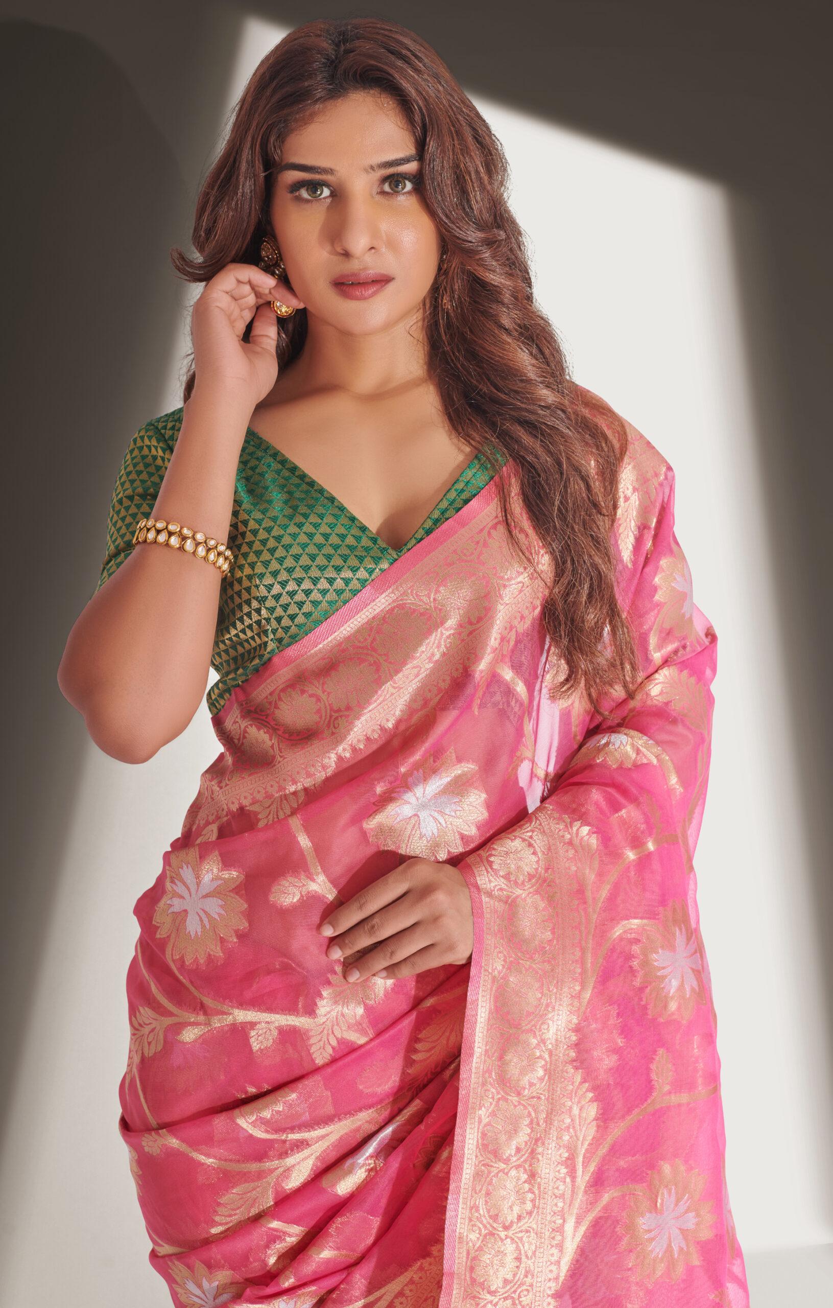 Latest Designer Magenta Saree with Green Blouse