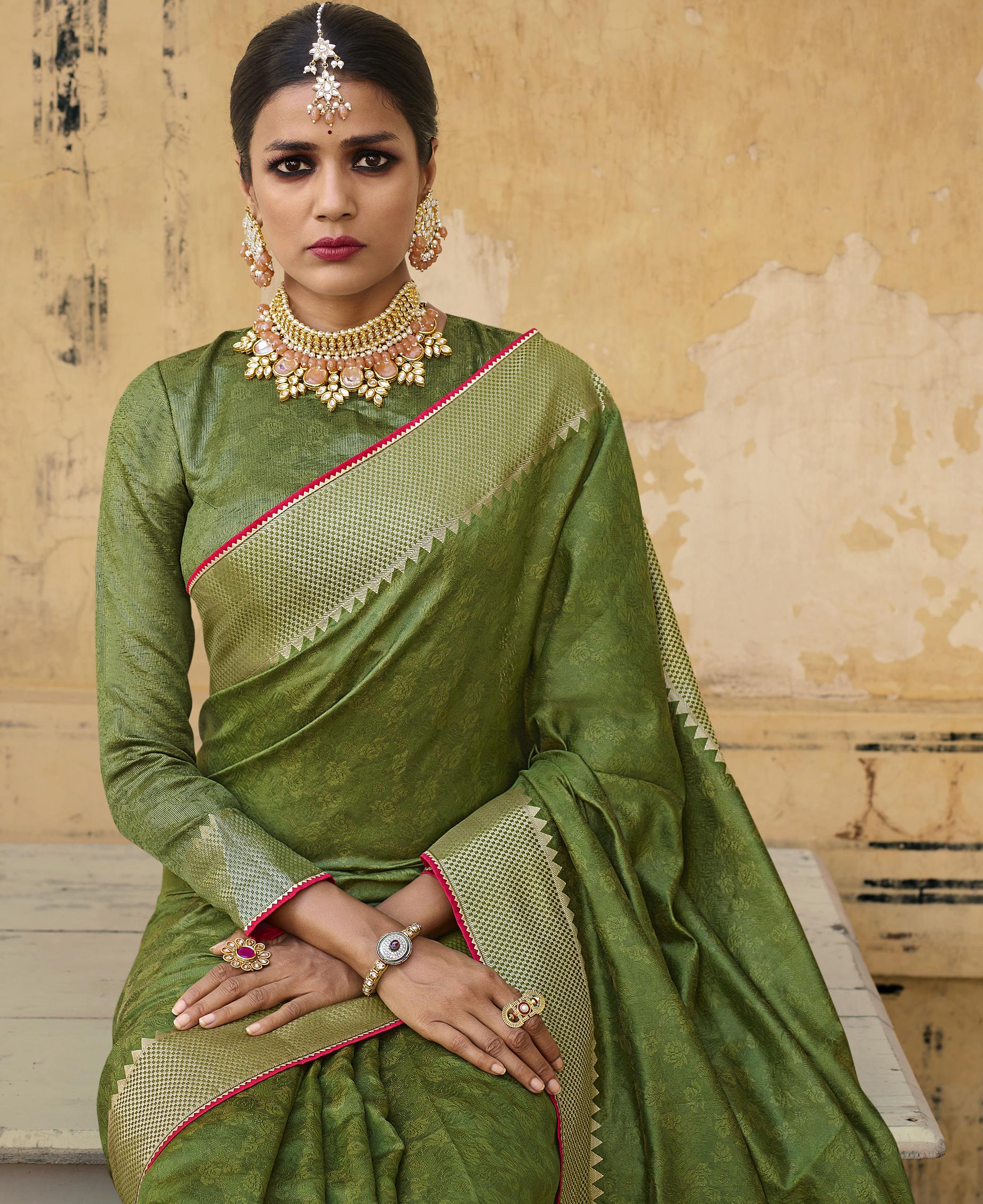 Latest Golden Border Green Silk Saree with Price