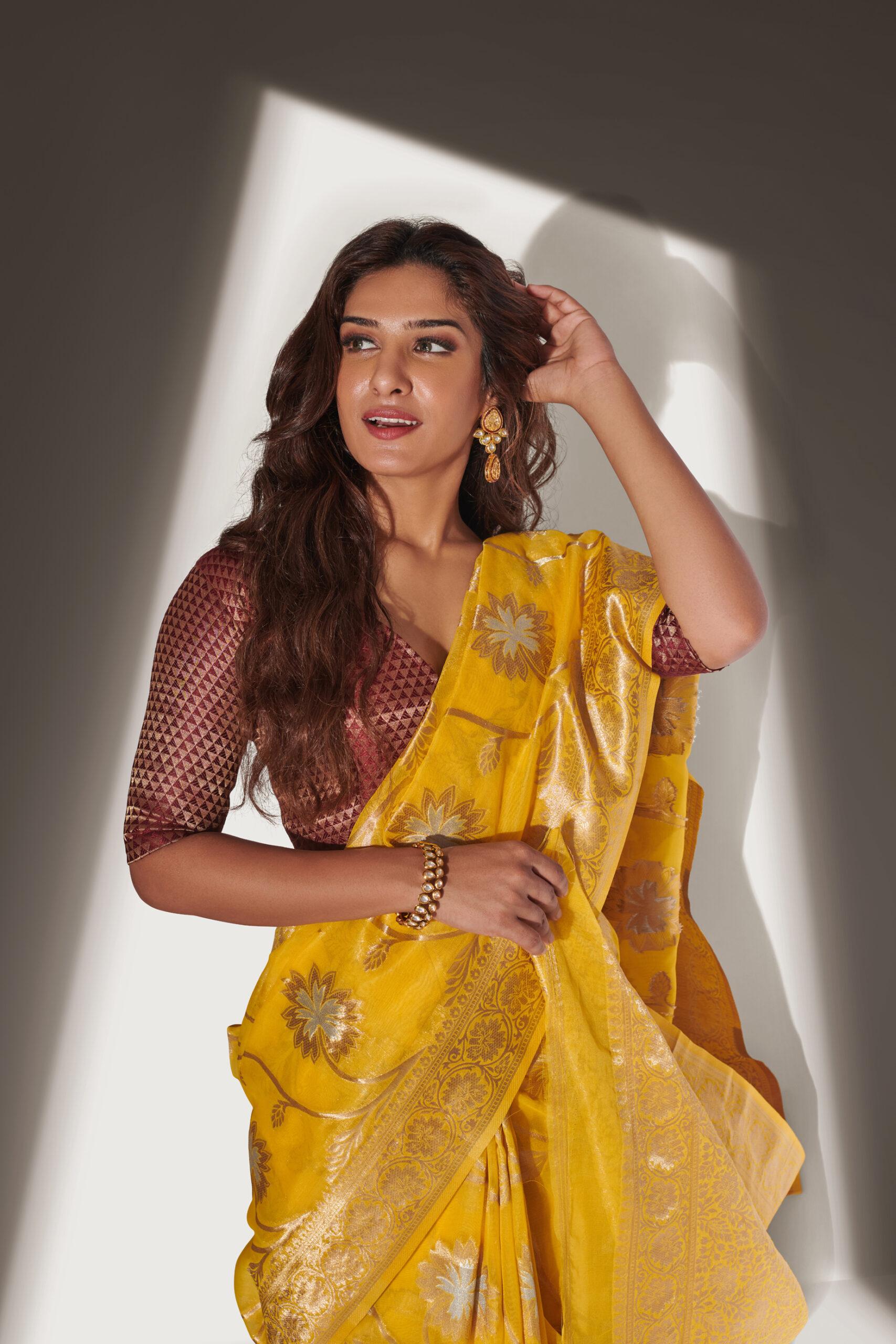 Organza Silk Saree Party Wear