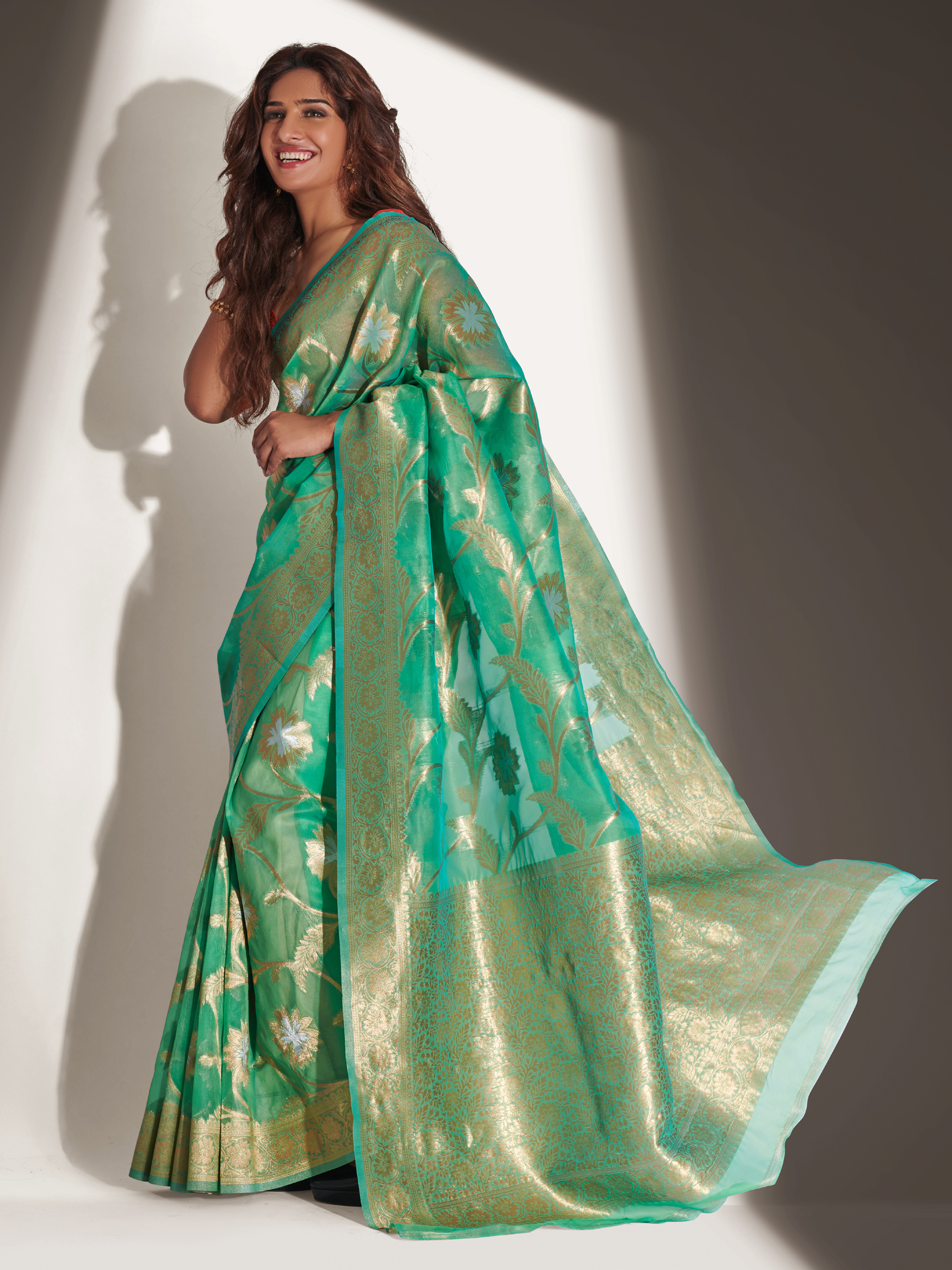 Organza Silk Saree in Green Colour Online