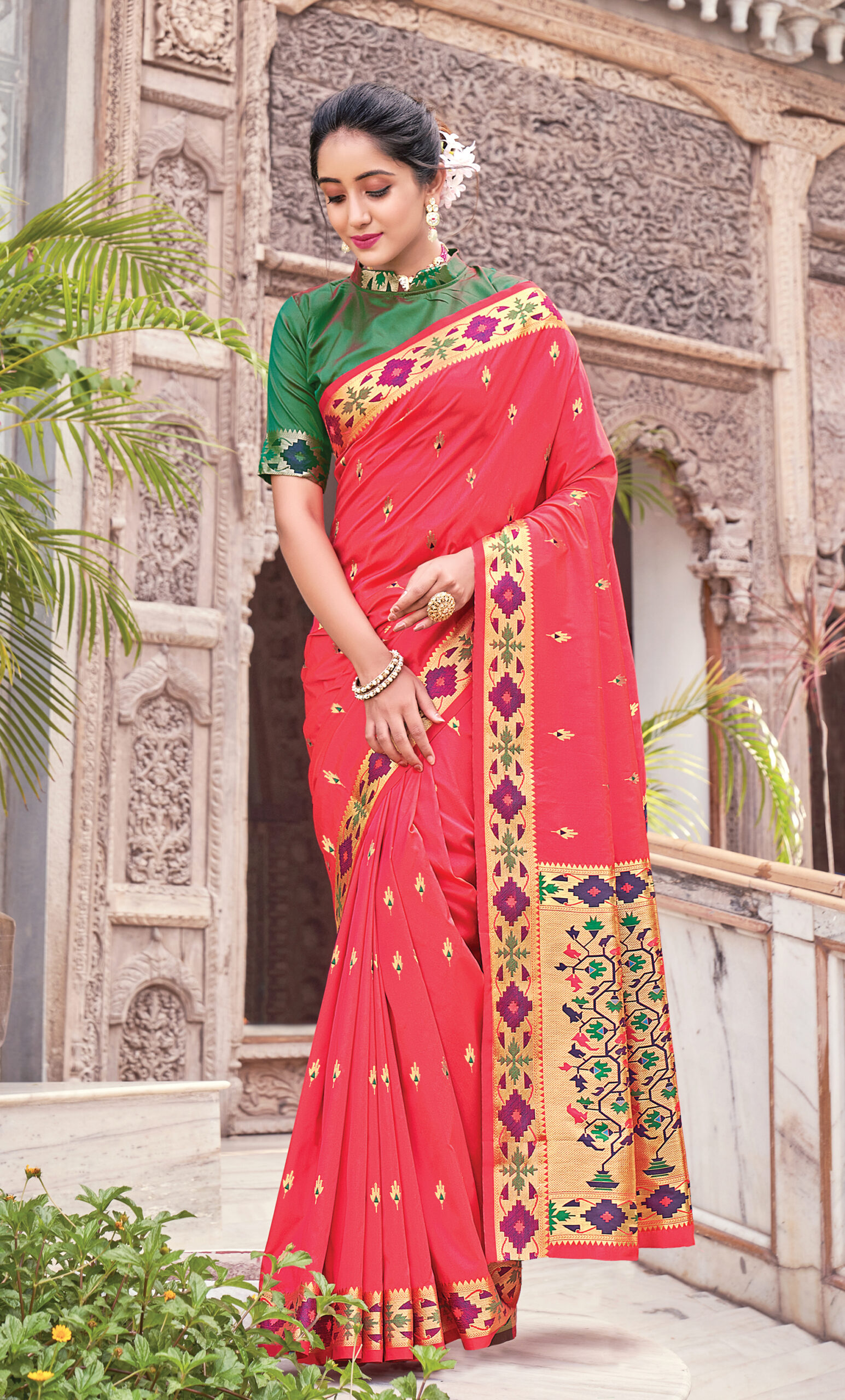 Red Silk Saree with Green Blouse