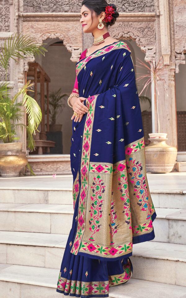 Rich Pallu Royal Blue Silk Saree