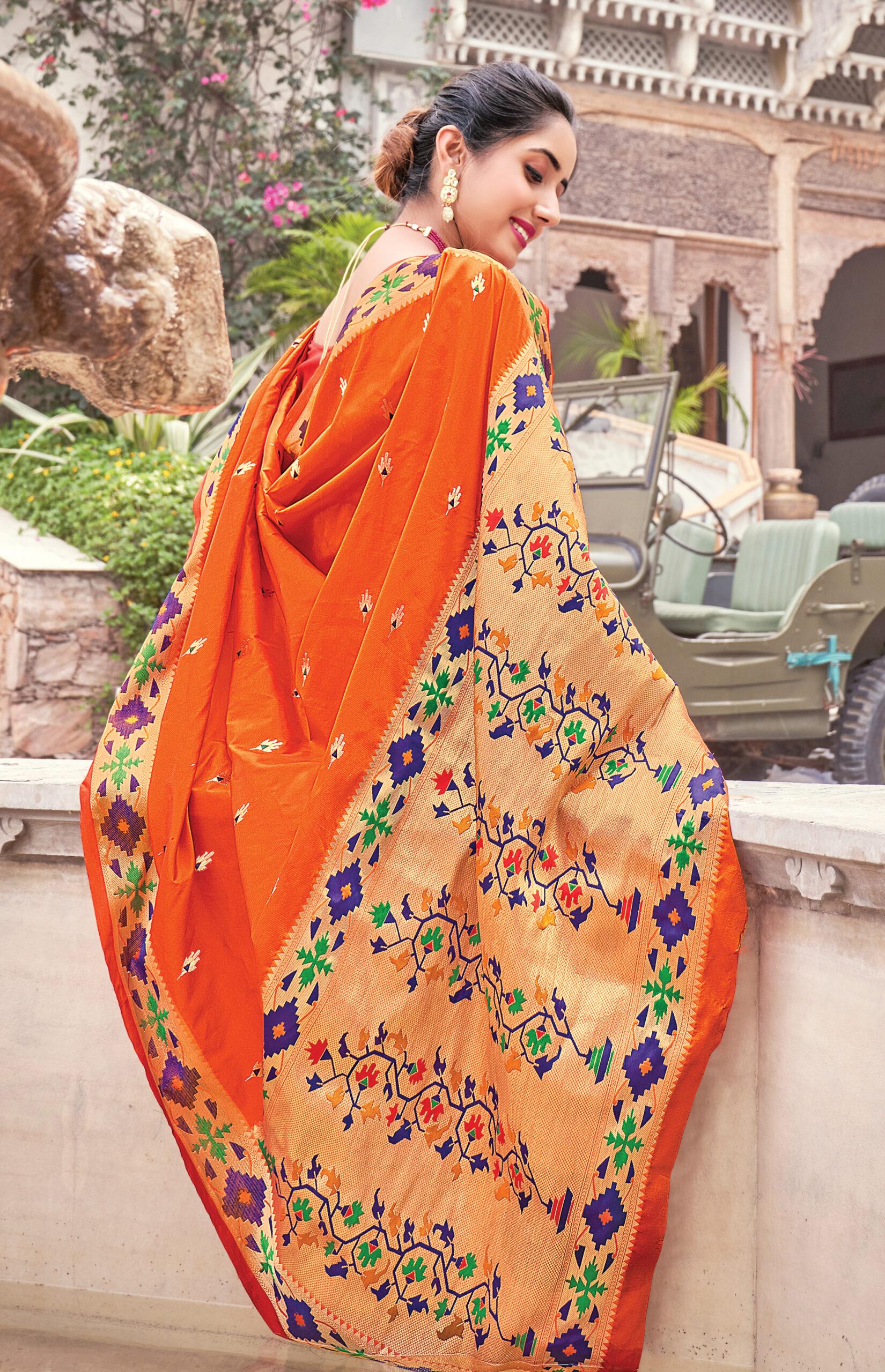 Silk Saree in Orange Colour for Party
