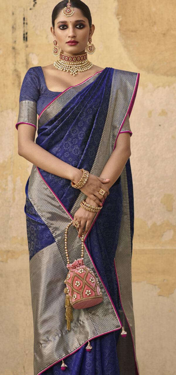 Silver Border Jacquard Silk Saree with Price