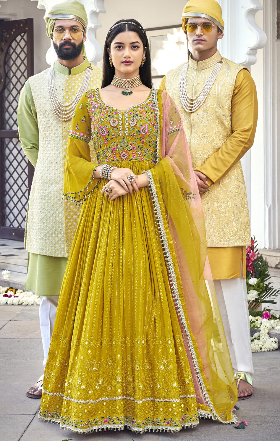 long Mustard Yellow gown with heavy dupatta