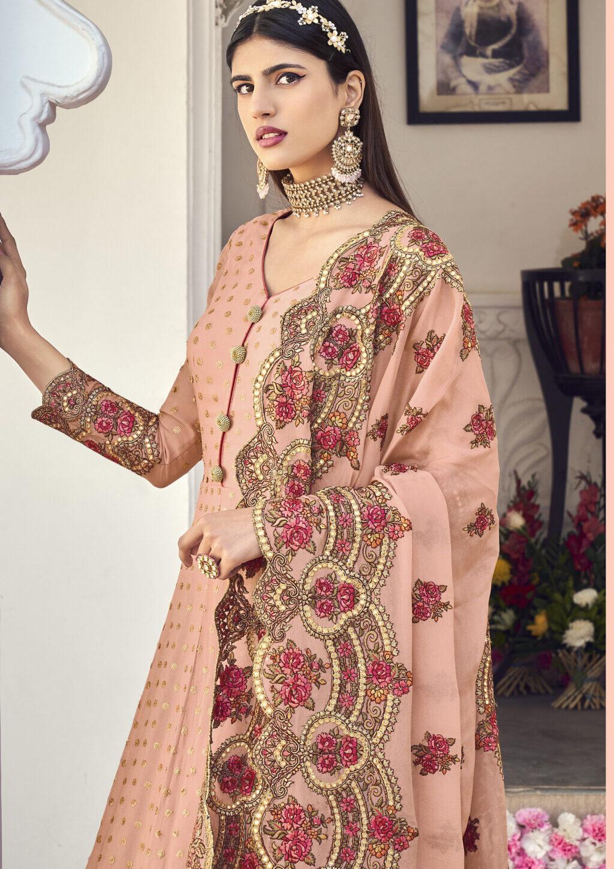 peach colour latest gown with dupatta