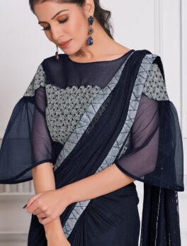Steelblue Colour New Fancy Saree for Wedding