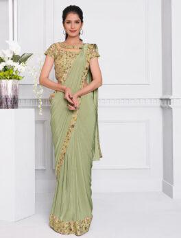 New Fashion Saree Design Olive Green