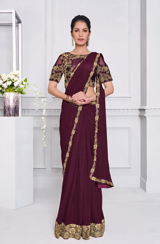Plum Colour Best Designer New Fashion Saree