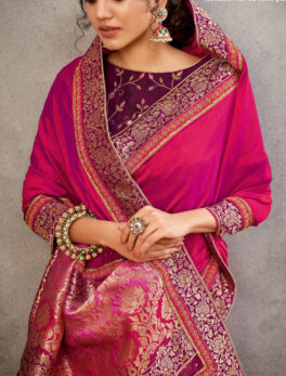 Heavy Saree Party Wear Magenta Colour Contrast Blouse