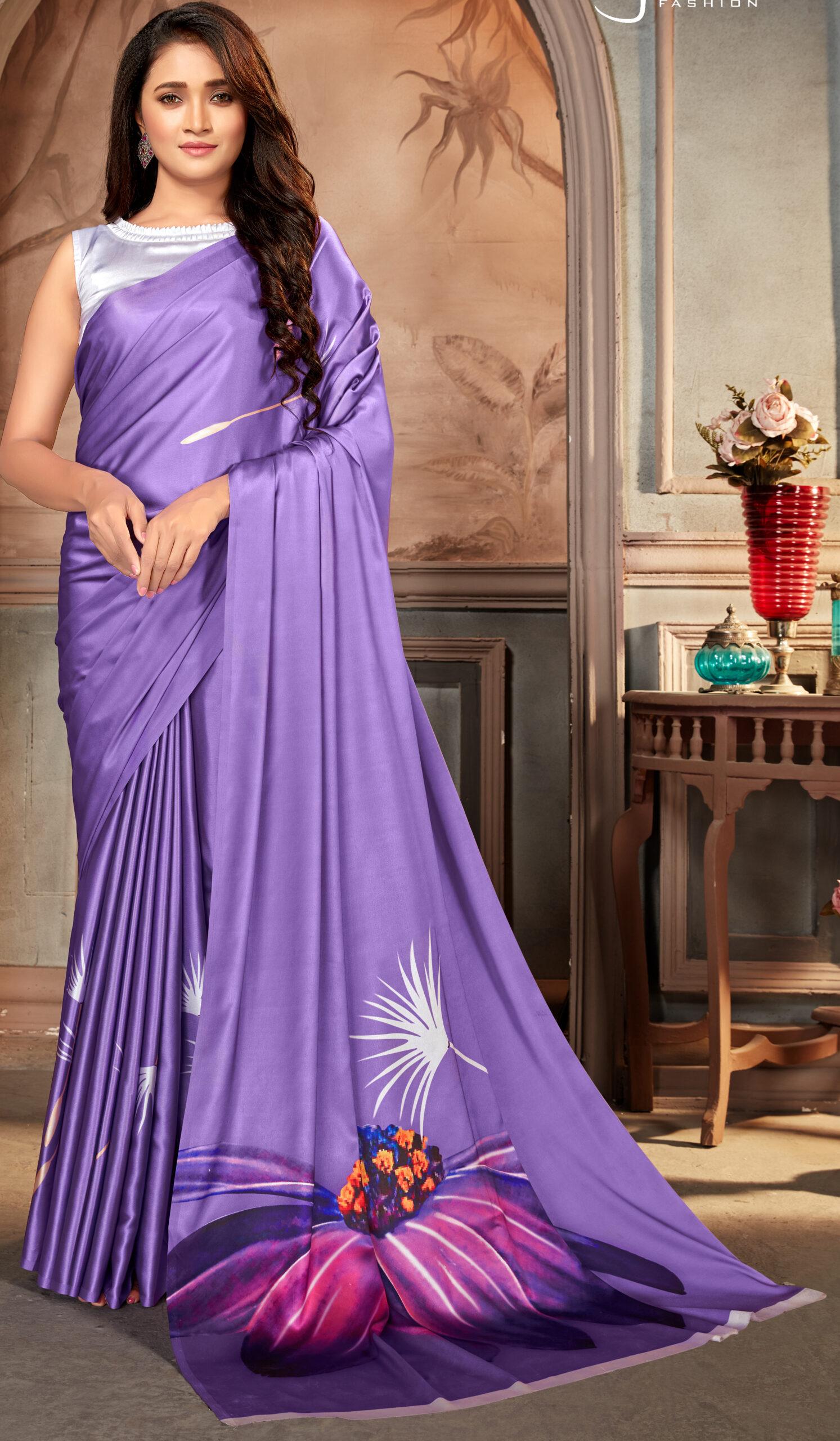 Amethyst Colour Satin Silk Saree in Digital Print