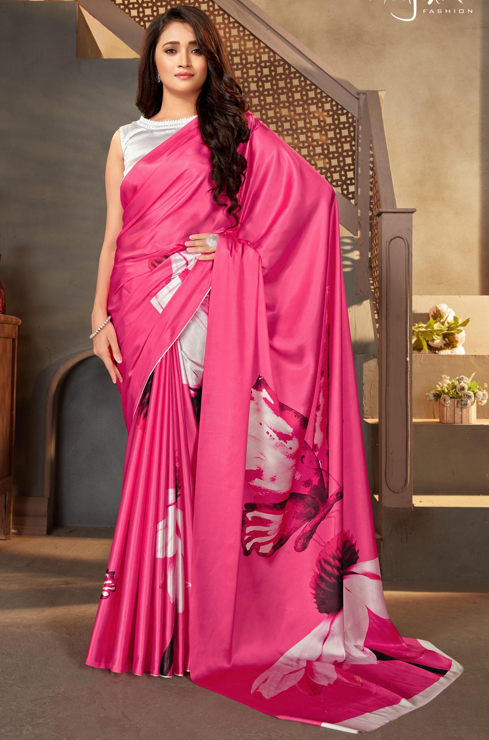 Designer Digital Print Satin Silk Saree Blouse