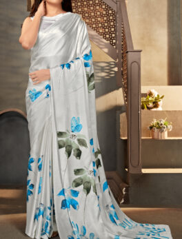 Digital Print Saree Satin Silk Designer Floral